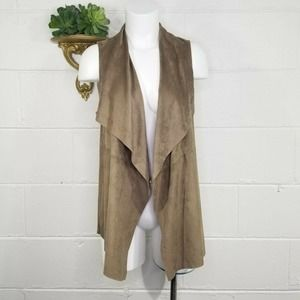 Joan Vass New York Faux Suede Leather Open Front Vest Lightweight XS